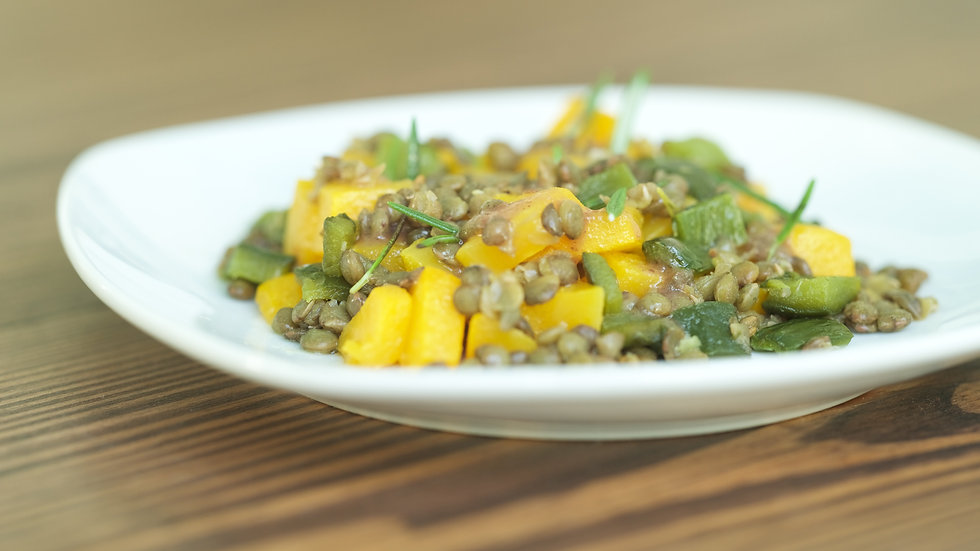FRENCH LENTILS WITH BUTTERNUT SQUASH, POBLANOS & WALNUTS
