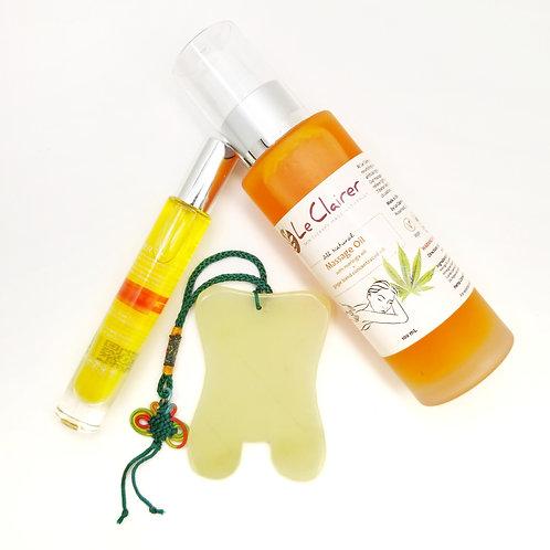 Gua Sha & Massage Oil Gift Set