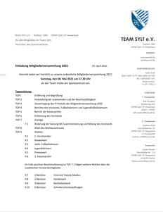 Einladung Mitgliederversammlung 2021