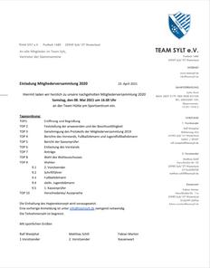 Einladung Mitgliederversammlung 2020