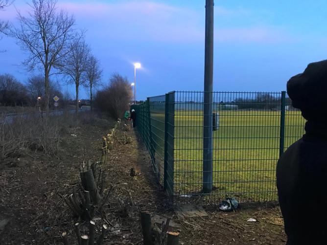 Fussballer schaffen Raum für Kunstrasenplatz