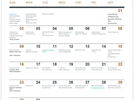 August Schkeddy Home School Calendar 4 weeks