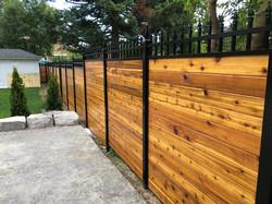 Aluminum Hybrid Fence with Cedar