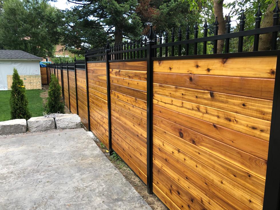 PVF1 - Aluminum and Cedar Hybrid Privacy Fence
