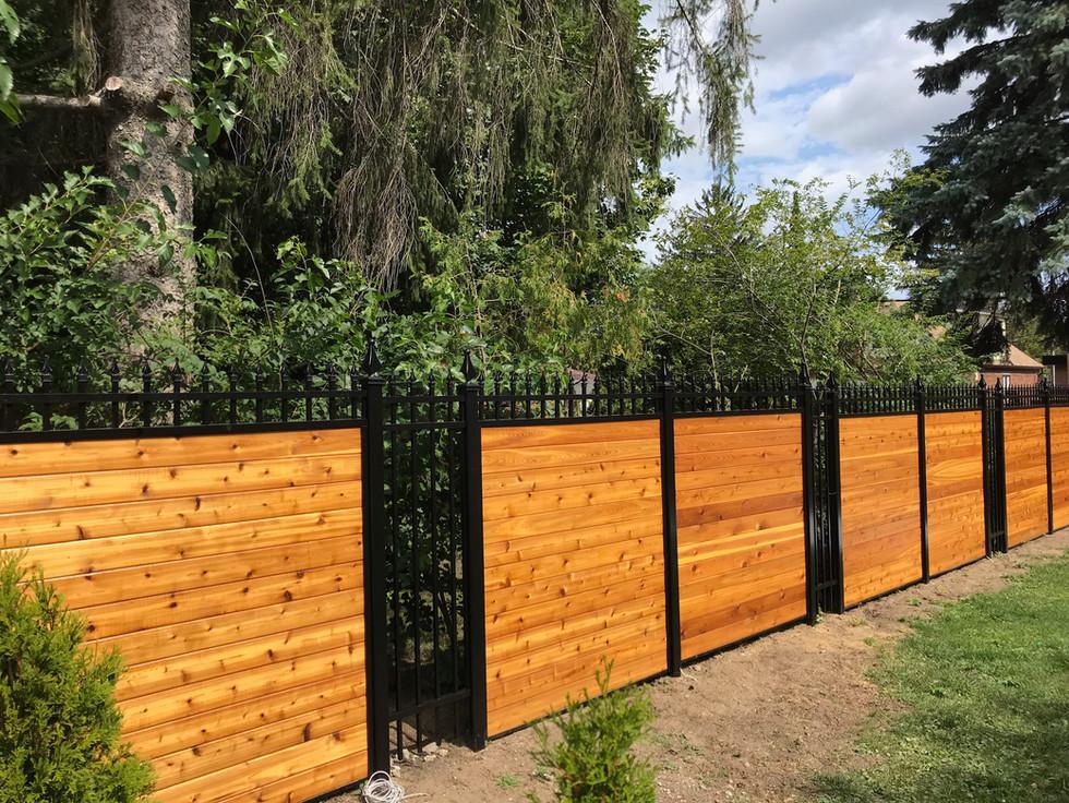 PVF2 - Aluminum and Cedar Hybrid Privacy Fence