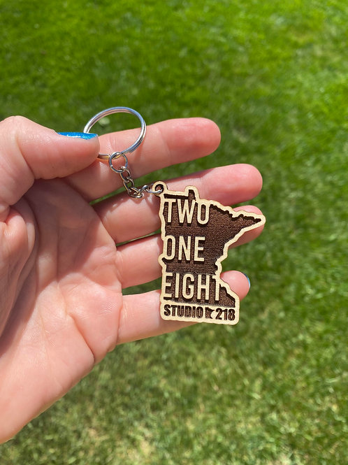 TWO ONE EIGHT Minnesota Wooden Keychain