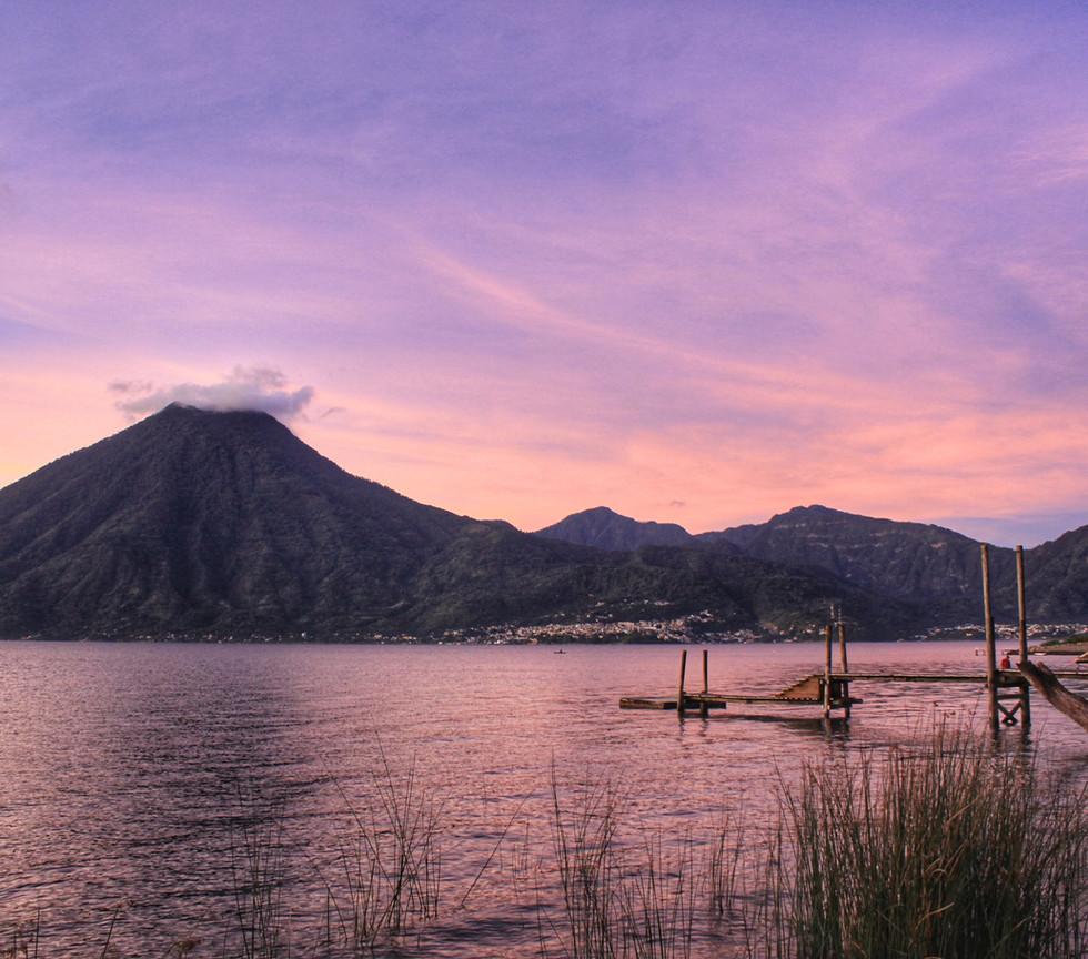 lake atitlan - volcan san pedro at sunse