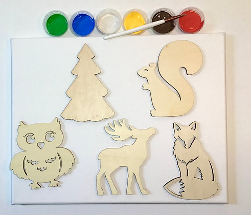 Deluxe Woodland Animal Kit (with paint and canvas)