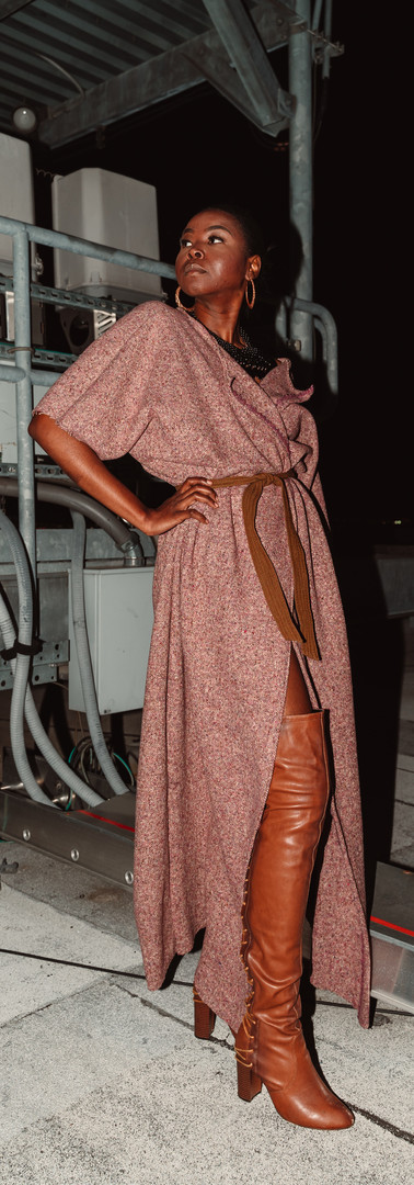 Simple Tweed Maxi Caftan. Dolman sleeve; Belted.   This item comes in one size.