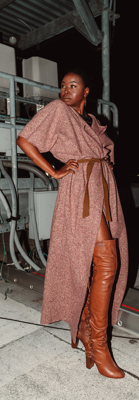 Simple Tweed Maxi Caftan. Dolman sleeve; Belted.   This Item comes in one size