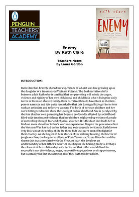 Enemy by Ruth Clare Teaching Unit by Lau