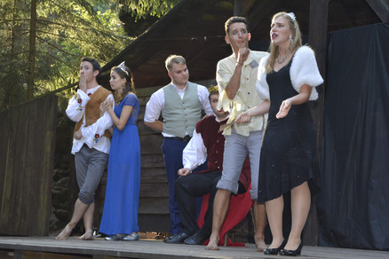 Zahradník Štěpán (Jaroslav Chaloupka), princezna Amélie (Anita Bonková), Jakub (Milan Galandák), král Vilém (Marek Cimirot), únosce (David Dobeš) a princezna Viktorie (Pája Bišická)