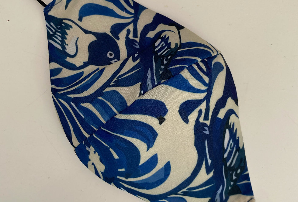 Barbijo Pajaros Blue (batista)
