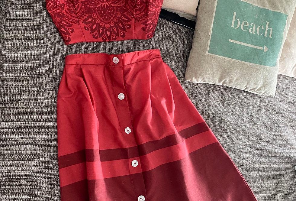 Falda midi con botones colour block