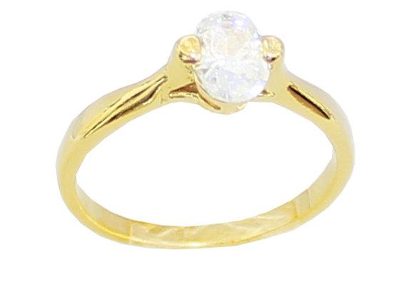 anel folheado a ouro solitário meia aliança