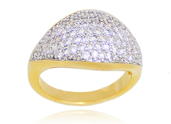 anel folheado a ouro cravado com zircônias meia aliança
