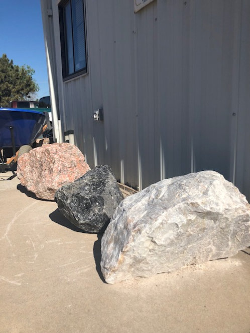 Black Obsidian Boulder, Rose Boulder and White Boulder