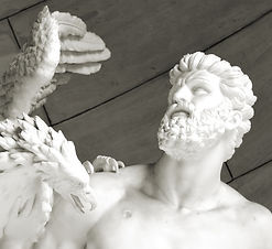 Architectural detail of statue depictin