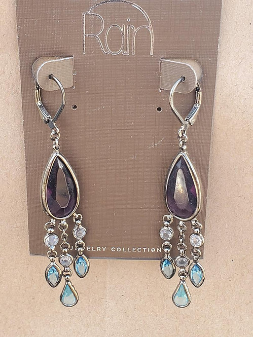 Purple and Teal Chandelier Earrings