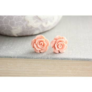 Peach Blush Rose Studs