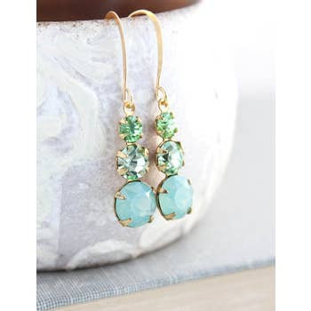 Peridot and Mint Glass Drop Earrings - Vintage Glass