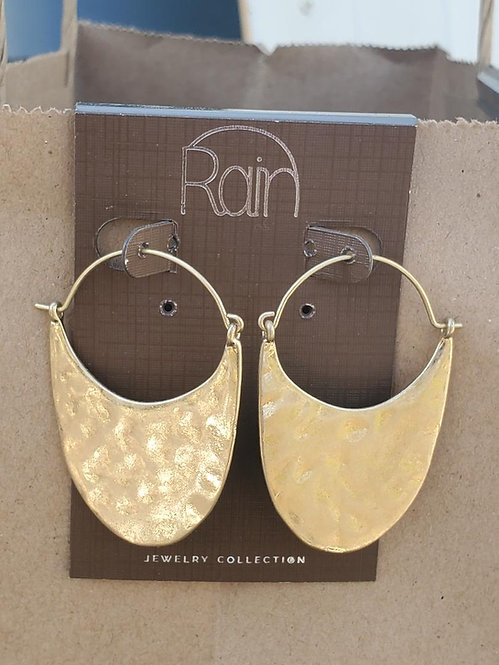 Gold Hammered Moon earrings