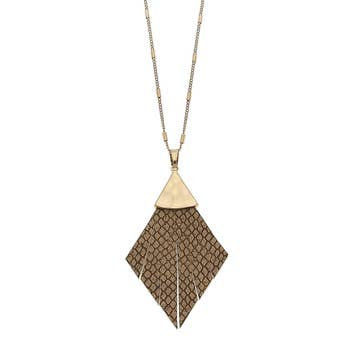 Pendant Necklace In Camel Leather