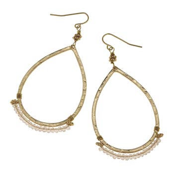 Teardrop Earrings In Platinum Glass
