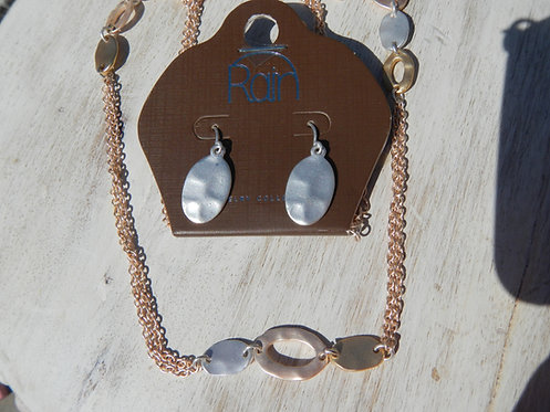 Long Gold and Silver Necklace Set