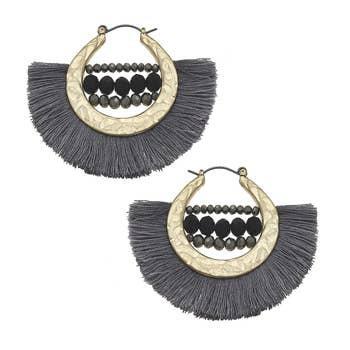 Statement Earrings In Hematite Glass