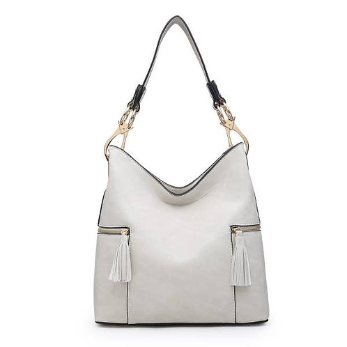 Tassel Zip Hobo Bag with Two Pockets-Ivory