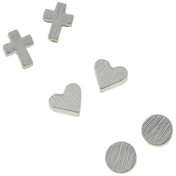Demi Stud Trio Earrings In Worn Silver