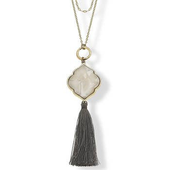 Layered Necklace In Grey Mother Of Pearl Resin