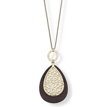 Pendant Necklace In Carved Wood