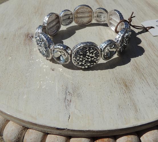 Silver Pave Crystal Circles Bracelet