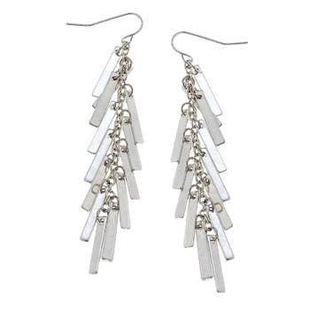 Matchstick Fringe Earrings In Worn Silver