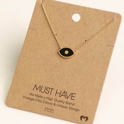 Evil Eye Charm Necklace- Gold and black