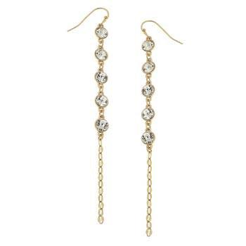 Crystal Linear Chain Earrings In Worn Gold