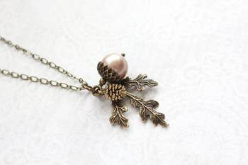 Almond Blush Pearl Acorn Necklace - Layering Charm necklace