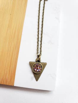 Dainty Triangle Druzy Rose Gold Necklace