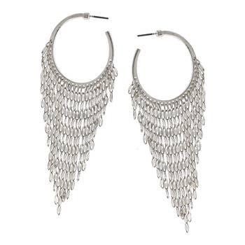 Chandelier Hoop Earrings in Worn Silver