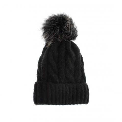 Soft Cable Knit Pom Hat