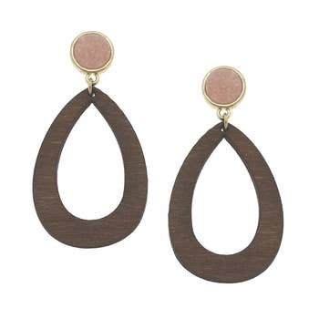 Teardrop Earrings In Blush Druzy