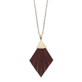 Pendant Necklace In Burgundy Leather