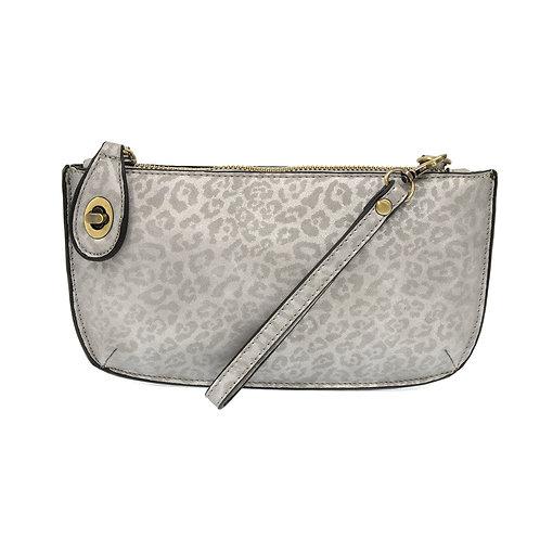 Leopard Crossbody Wristlet Clutch-Silver