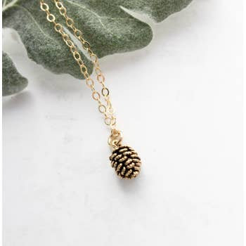 "Tiny Pine Cone Necklace 16"" chain"