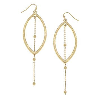 Marquis Drop Earrings In Worn Gold