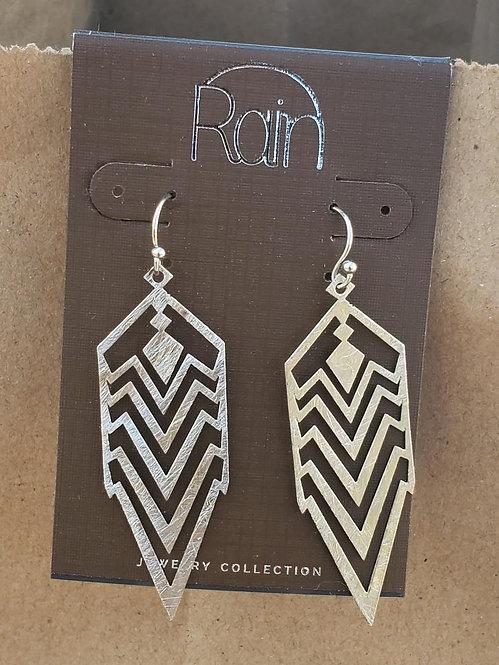 Raw Metal Chevron Earrings