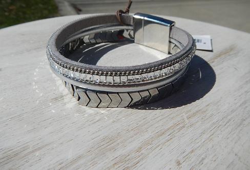 Silver Chevron Magnetic Bracelet