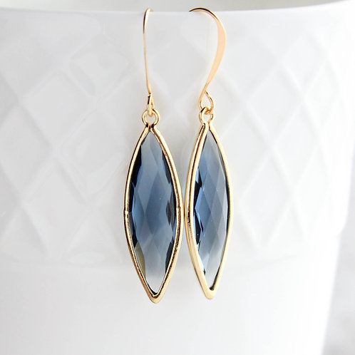 Glass Marquis Drop Earrings - Montana Blue